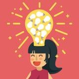 La mujer tiene un montón de ideas de la bombilla en su cabeza ilustración del vector