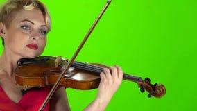 La mujer toca el violín Pantalla verde Cierre para arriba almacen de video