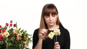 La mujer toma el cuidado del narciso de las flores blanco Cierre para arriba metrajes