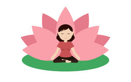La mujer tranquila está haciendo yoga y se está sentando en la posición de loto Fotos de archivo
