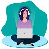 La mujer triste se está sentando en el piso con las piernas cruzadas libre illustration