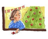 La mujer triste se prepara para el día de fiesta de la Navidad o el Año Nuevo permanece n libre illustration