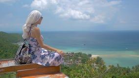 La mujer turística joven se está sentando en el punto de vista del paisaje hermoso de la bahía del mar