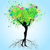 La mujer - un árbol Imagen de archivo