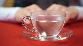 La mujer va a beber té Hembra que vierte la agua caliente en la taza Tiempo de la rotura almacen de video