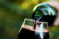 La mujer vierte el vino Foto de archivo