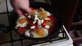 La mujer vierte un condimento para los huevos almacen de video