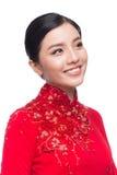 La mujer vietnamita encantadora en Ao Dai Traditional Dress aisló o Fotos de archivo libres de regalías