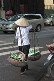 La mujer vietnamita lleva el papel y el plástico viejos Fotografía de archivo