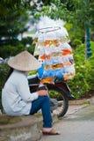 La mujer vietnamita vende pescados del acuario Imágenes de archivo libres de regalías