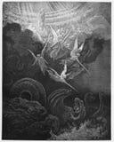 La mujer y el dragón stock de ilustración