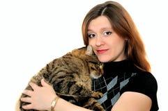 La mujer y el gato Foto de archivo libre de regalías