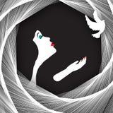 La mujer y la paloma Imagen de archivo libre de regalías