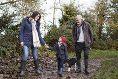 La multi famiglia della generazione prende il cane per la passeggiata nel paesaggio di caduta Immagini Stock
