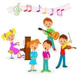 La musica del gioco delle ragazze e dei ragazzi e canta Fotografia Stock Libera da Diritti