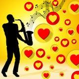 La musica del sassofono indica Valentine Day And Acoustic Immagine Stock Libera da Diritti