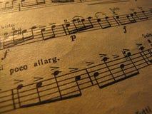 La musica di foglio bianco Primo piano Molto vecchio fotografia stock libera da diritti