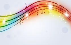 La musica luminosa nota il fondo multicolore Fotografie Stock Libere da Diritti