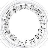 La musica nota il confine Fondo musicale Forma rotonda di stile di musica Fotografie Stock Libere da Diritti