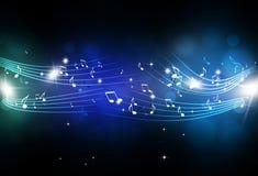 La musica nota il fondo blu Fotografia Stock Libera da Diritti