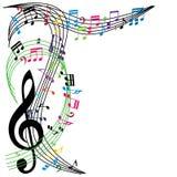 La musica nota il fondo, composizione alla moda in tema musicale, vecto Fotografia Stock Libera da Diritti