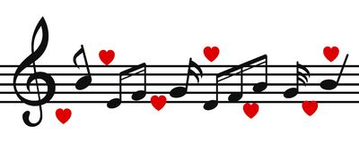 La musica nota il fondo, note musicali con i cuori - vettore illustrazione vettoriale