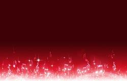 La musica nota il fondo rosso Fotografie Stock