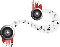La musica nota il fondo rotondo di bianco del bottone di web dell'elemento illustrazione di stock