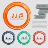 La musica nota l'icona sui bottoni rossi, blu, verdi, arancio per il vostro sito Web e sulla progettazione con il testo dello spa Immagini Stock Libere da Diritti