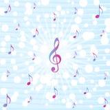 La musica nota lo scoppio nel fondo blu del modello dell'acquerello illustrazione di stock