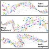 La musica ondulata nota l'insegna Immagini Stock