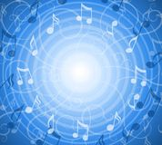 La musica radiale nota la priorità bassa blu Immagine Stock