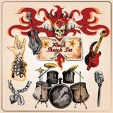La musica rock ha colorato l'insieme di schizzo Immagine Stock