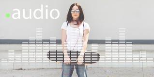 La musique audio d'égaliseur de Digital accorde le concept de graphique d'onde sonore photographie stock libre de droits