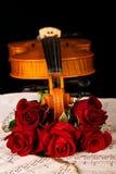 La musique de feuille de violon et a monté Image stock