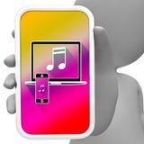 La musique en ligne signifie le téléphone portable et le rendu 3d acoustique Photo libre de droits
