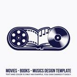 La musique, livres, films conçoivent le calibre illustration de vecteur