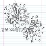 La musique note l'illustration peu précise de vecteur de griffonnage illustration de vecteur