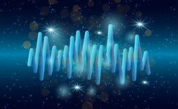 La musique ondule le fond égaliseur de musique du bruit 3D avec des lumières Images stock