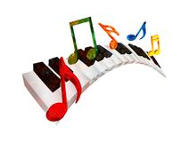 La musique onduleuse de clavier de piano note l'illustration du grunge 3D Illustration Stock