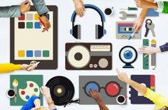 La musique par radio de films de media usine le concept photos libres de droits