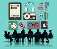 La musique par radio de films de media usine le concept images stock