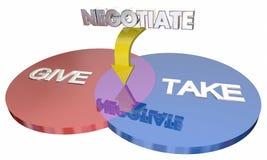 La négociation donnent prennent le compromis Venn Diagram Photographie stock libre de droits