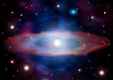La naissance d'une supernova Explosion de supernova La mort de l'étoile Galaxie brillante avec des étoiles et un trou noir illustration de vecteur