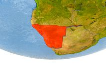 La Namibie en rouge sur le modèle de la terre Images libres de droits