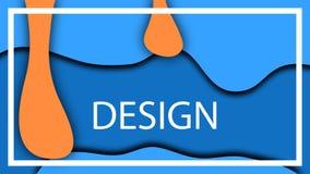 La naranja azul cae el ejemplo volumétrico de la profundidad Líquido flúido del vector, visión 3D libre illustration