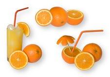 La naranja fijó con el camino de recortes Fotos de archivo