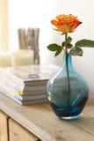 Detalles interiores caseros anaranjados y azules Fotos de archivo libres de regalías