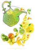 Chapoteo de la naranja y del zumo de lima Foto de archivo libre de regalías