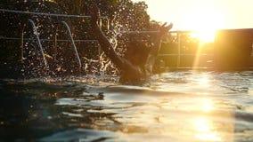 La natación joven del hombre del deporte en la piscina salpica el agua en puesta del sol hermosa Cámara lenta 1920x1080 almacen de video